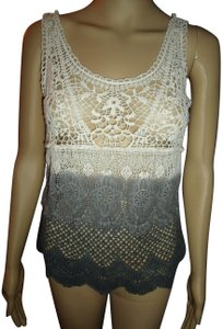 American Eagle Outfitters Crochet Lace Boho Hippie Gypsy Ombre Top Multi-Colored