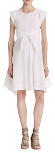 Rebecca Taylor short dress White Eyelet Pattern 100% Cotton Attached Tie Belt Cap Sleeves on Tradesy