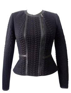 Rebecca Taylor Round Neckline Asymmetrical Zip Leather Trim Black Jacket