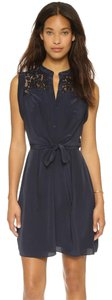 Rebecca Taylor short dress Navy 100% Silk Poly/spandex Lining Patch Chest Pockets Sleeveless Raw Edge Detail on Tradesy