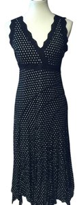 Joseph Ribkoff V-neck Sleeveless Dot Sheer Lace Trim Dress