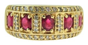 Other Antique Victorian Style Ruby And Diamond Band- 14k Yellow Gold