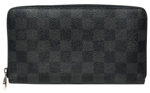 Louis Vuitton Zippy Organizer Damier Graphite Clutch Bag Wallet Card Holder