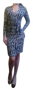 Diane von Furstenberg short dress Blue Black White Silk Wrap Dvf New Two on Tradesy