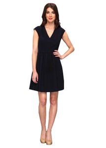 Rebecca Taylor short dress Navy Exposed Back Zip Shirred Waist Detail Silk Lining/combo V-neck on Tradesy