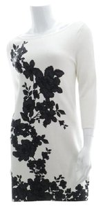 White House | Black Market Floral Sweater Mini Knit Long Sleeves Dress