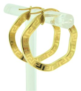 Other Wavy Greek Key Hoop Earrings-18k Yellow Gold