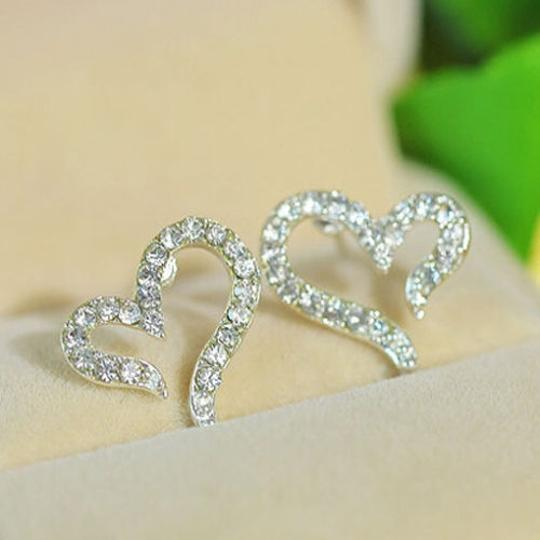 Silver Bogo Free Any Two Listing Rhinestone Heart Free Shipping Earrings
