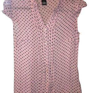 Maurices Dot Sheer Top Pink w/ small black polka dots