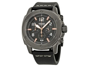 Fossil FS5016 Men's Black Leather Bracelet With Grey Analog Dial Watch