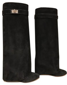 Givenchy Shark Lock Suede Knee Wedge black Boots