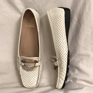 Stuart Weitzman Patent Leather Loafers Slip Ons Moccasins Wedge Ivory (white) Flats