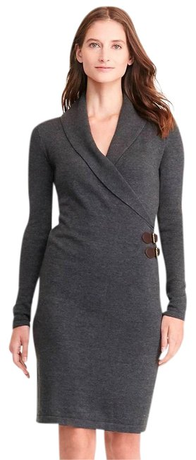 Item - Gray Buckled Large Short Work/Office Dress Size 14 (L)