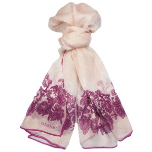 Valentino Light Pink Polka Dot and Fuchsia Floral Long Scarf