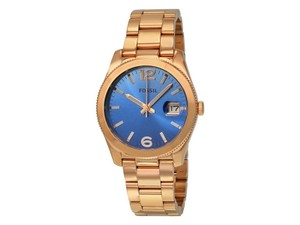 Fossil ES3780 Boyfriend Women's Rose Gold Metal Bracelet With Blue Analg Dial