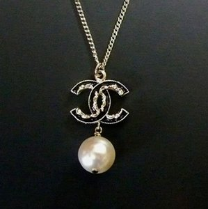 Chanel Chanel Classic CC Black Enamel Pearl Reversible Necklace