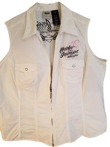Harley Davidson Sleeveless Zipper Embroidered Pink And Black Top White