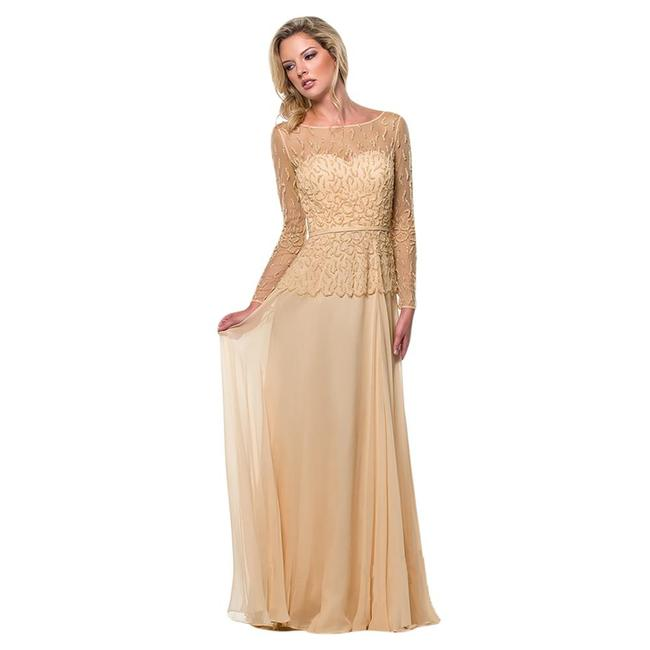 Item - Champagne (Beige) New Beige Beaded Prom 151m0365 Long Formal Dress Size 12 (L)