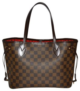 Louis Vuitton Neverfull Damier Ebene Tote in Brown