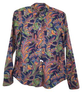 Ralph Lauren Colorful Blue Green Orange Button Down Shirt Paisley