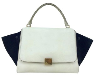 Céline Gold Hardware Logo Front Flap Tote in White