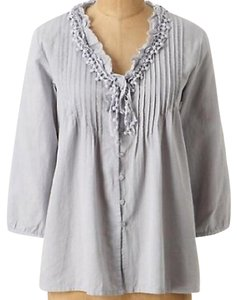 Anthropologie Button Down Shirt Ivory, White, Cream
