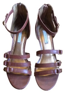 Twelfth St. by Cynthia Vincent Buckled Wedge Low Heel Summer Brandy Brown Sandals