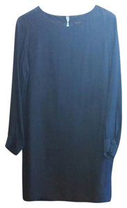 liquid New York Silk 100% Silk Navy Day To Night Dress