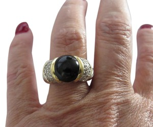 David Yurman Capri Black Onyx with Pave' Diamonds SS/18k Ring
