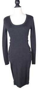 Calvin Klein Wool Knit Sweater Ruched Dress