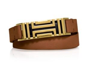 Tory Burch For Fitbit Fret Brown Double Wrap Leather & Gold Tone Bracelet