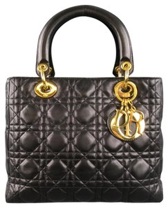 Dior Leather Charm Quilted Italian Shoulder Bag