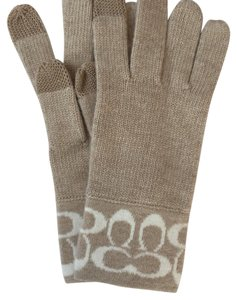 Coach Coach Knit Signature Logo Tech Touch Wool Gloves Beige/White