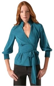 Diane von Furstenberg Dvf Wrap Blue Silk Top Blue Teal