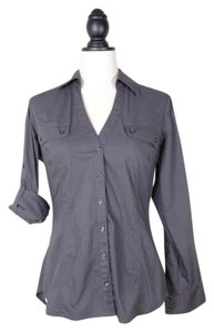 Express Button Dowm Stretch Roll Up Top GRAY