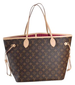 Louis Vuitton Lv Neverfull Mm Neverfull Gm Beige Tote in Monogram w/ Pink lining