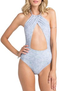 Billabong Denim Daze Wrap Halter One-Piece Swimsuit
