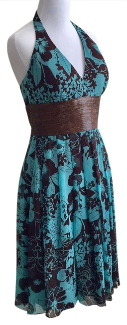 Item - Turquoise Brown Tropical Print Halter Mid-length Short Casual Dress Size 4 (S)