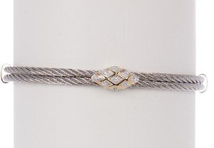 Alor Charriol Classique ALOR Charriol Bracelet Diamond 18K Gold Silver Cable Station Bangle