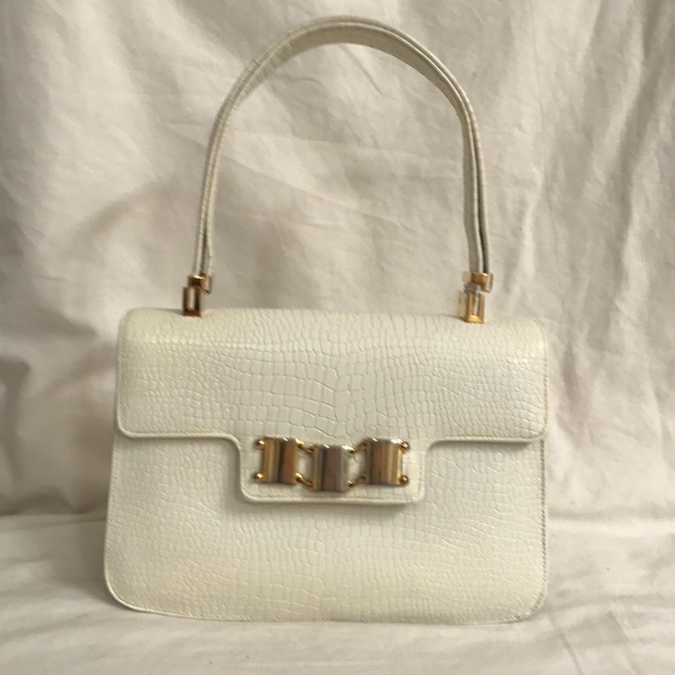Koret Purse Handbag Shoulder Lizard Vintage Satchel In White Gold