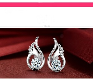 White Gold Filled Angel Wings Topaz Earrings Free Shipping