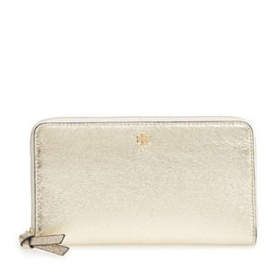 Tory Burch gold tone crackled metallic leather Tory Burch continental wallet