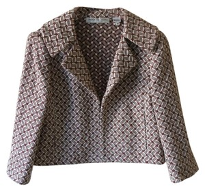 Dana Buchman Vintage Cotton Pattern Half Sleeve Collar Brown Blazer
