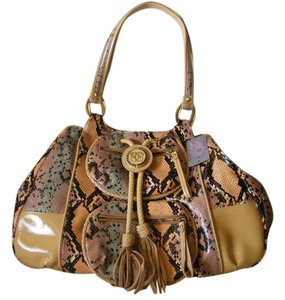 Sharif Leather Medallion Snakeskin Shoulder Bag