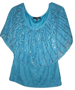 HeartSoul Lace Sequins Boho Hippie Gypsy Top Blue