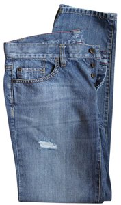 Ann Taylor LOFT Distressed Front - Boyfriend Cut Jeans-Light Wash