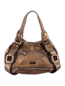 Jimmy Choo Silver Hardware Satchel in Bronze / Brindled / Brown