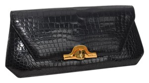 Hermès Crocodile Exotic Black Clutch