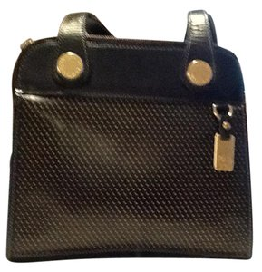 Dooney & Bourke Leather Gold Hardware Satchel in Black with Natural perforation