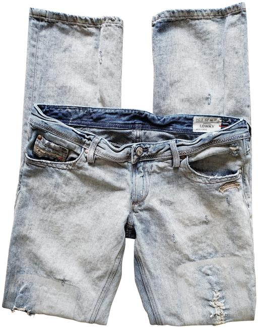 Item - Light Blue Distressed Lowky L34 Made In Italy Straight Leg Jeans Size 29 (6, M)